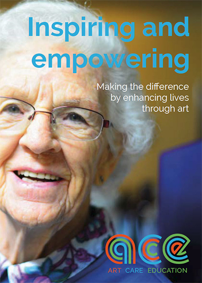 'Inspiring and empowering' Information handout for Care settings and schools 'Making the difference by enhancing lives through art' Image of female elder smiling