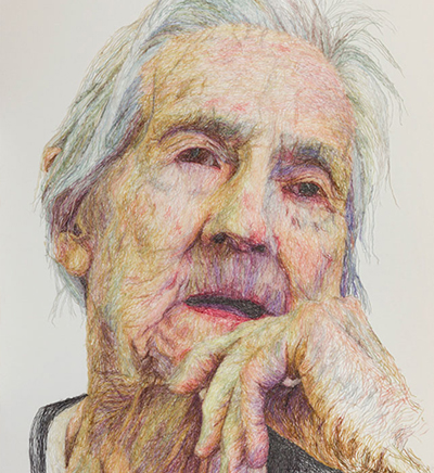 Dementia daring by Jenni Dutton, large scale portrait of the artists Mother in thread