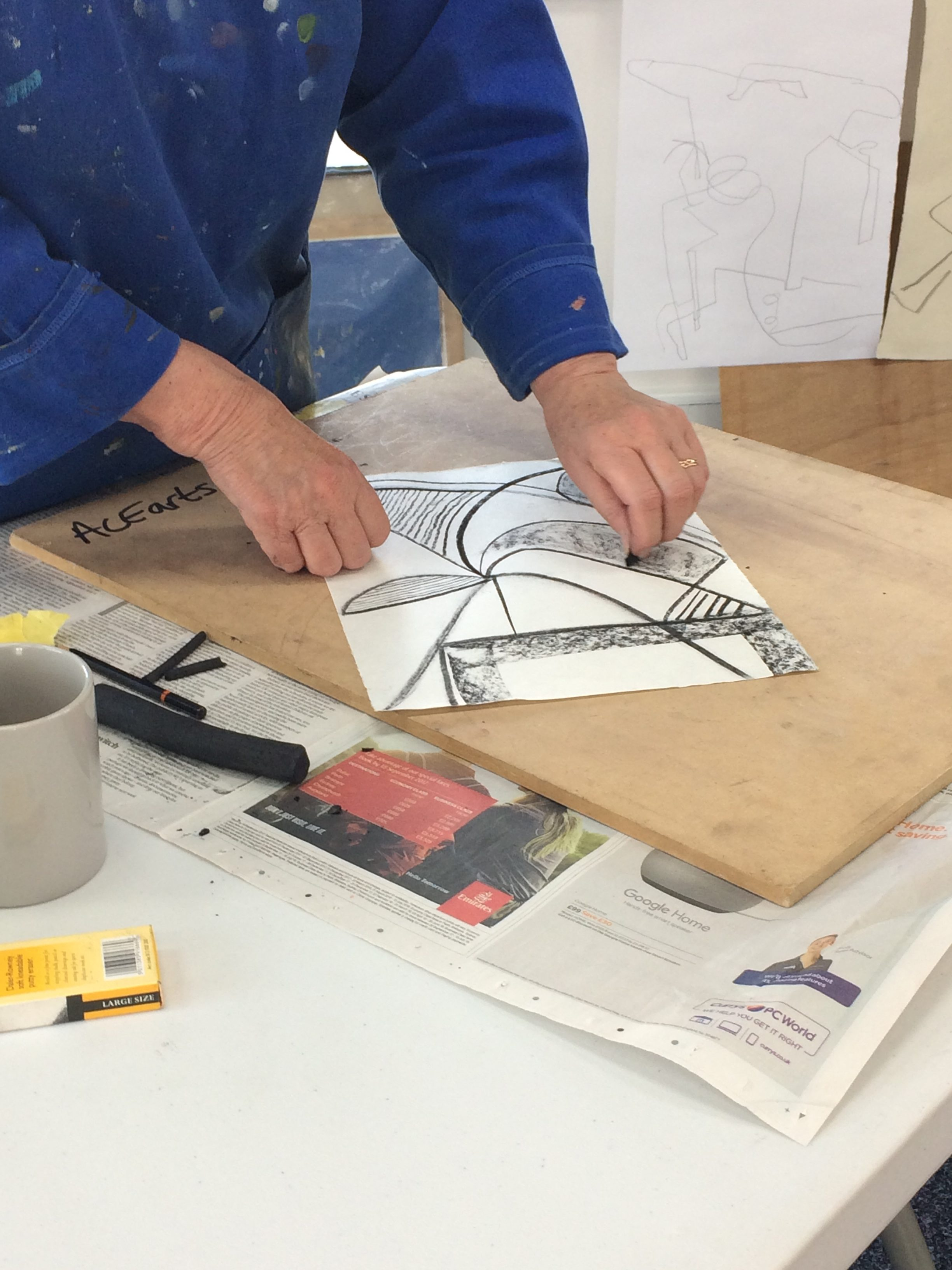 Participant of abstract drawing class