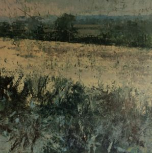 Painting by Jenny Graham for Somerset exhibition, Somerset landscape painting Oil and cold wax on canvas
