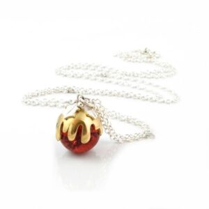 glas and silver christmas pudding pendant by Theodora Gould